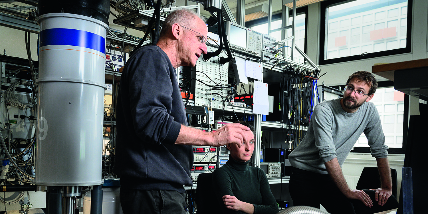 Charles Marcus with colleagues in the engine room at QDEV at University of Copenhagen